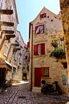 Cobble-stoned back streets in Hvar Croatia