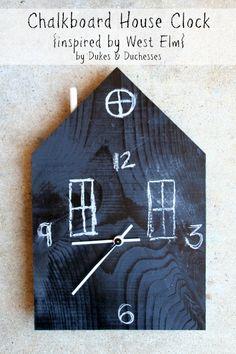 DIY chalkboard house clock {a West Elm knock-off} Diy Craft Projects, Fun Crafts, Craft Ideas, Diy Clock, Clock Ideas, Clock For Kids, Diy Chalkboard, Wood Clocks, Upcycled Crafts