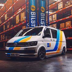 Bilstein Technical Centre - A VW with added attitude Transporter Van, Volkswagen Transporter, T6 Bus, Vw T5 Campervan, Vw Caravelle, Vehicle Signage, Monospace, Van Design, Van Wrap