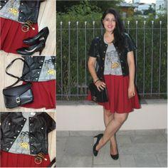 """Burgundy skirt, t-shirt, black jacket and black shoes. Saia vinho (burgundy), camiseta cinza com estampa, jaqueta de """"couro"""" e sacarpin preto. Link: http://www.elropero.com/2014/05/fashion-set-saia-vinho-burgundy.html"""