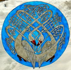 WICOART STICKER WINDOW COLOR CLING FAUX STAINED GLASS ST VALENTIN CELTIC SWANS