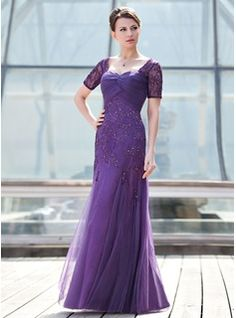 A-Line/Princess Sweetheart Floor-Length Tulle Mother of the Bride Dress With Ruffle Lace Beading Sequins (008018693) - JJsHouse