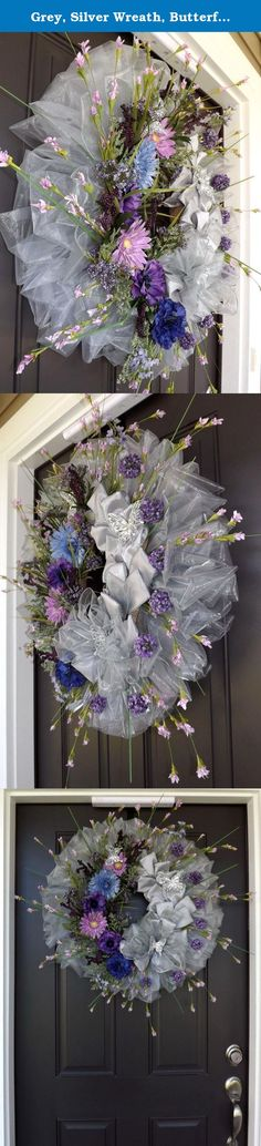 """Grey, Silver Wreath, Butterfly, Wonderful Unique Handmade Wreath - Queen. This beautiful wreath is made on a 14"""" straw wreath base and measures between approximately 26"""" in its shortest diameter and approximately 31"""" in its widest diameter, ribbon to ribbon and 5"""" deep. This wreath is just GORGEOUS !!! Must see to believe! The picture just can't tell it all! All my wreaths are hand made by me. I never repeat myself, so be sure you are buying a one of a kind, unique, piece of home decor…"""