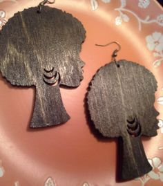 Afro Chic Wood Earrings on Etsy, Sold
