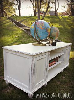 My Passion For Decor: Updated Entertainment Cabinet, Annie Sloan Chalk Paint in Old White