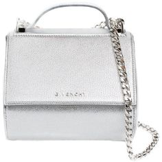 """Givenchy Mini """"Pandora Box-Chain"""" Leather Shoulder Bag ($2,035) ❤ liked on Polyvore featuring bags, handbags, shoulder bags, torbe, argento, white handbag, givenchy shoulder bag, white leather purse, leather handbags and mini purse"""