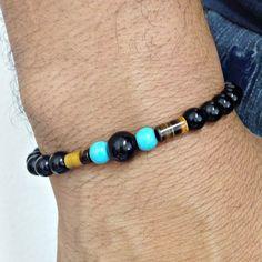 Pulseira masculina pedras ônix olho de tigre e turquesa bracelet man men's fashion