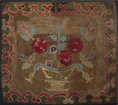 NEW ENGLAND HOOKED RUG WITH FLOWER-FILLED URN. 34 x 37 inches. Est. $500-$800