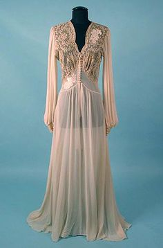 1945 Negligee Ornate Lace and Chiffon Early Vintage