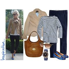 """""""Camel, navy and azure"""" by luv2shopmom on Polyvore"""