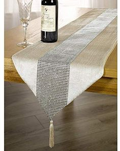 Panache Coloured Table Runner With Diamante Strip And Tassels x x (Cream) Table Runner And Placemats, Burlap Table Runners, Dining Table Runners, Modern Table Runners, Bed Runner, Deco Table, Decoration Table, Table Covers, Dinner Table