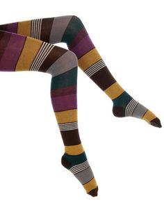 Portland Brown Striped Tights
