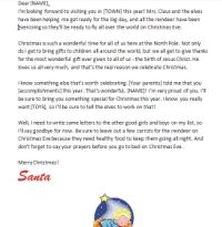 Free letter at Christian Santa Letters.com