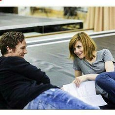 Benedict Cumberbatch (Sherlock) and Louise Brealey (Molly) relaxing on the set of BBCs Sherlock