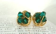 VDazzled Oz Series - Emerald / Green Swarovski Crystals and Gold wire wrapped Stud Earrings
