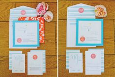 Teal and Coral Wedding Invitations by @idieh design