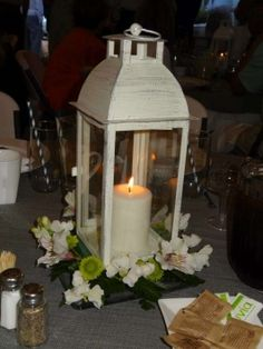 Ivory Metal And Glass Lanterns With