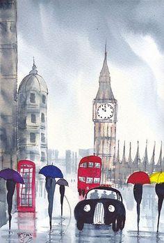 Rainy Day London - by Artist KJ Carr Illustrations, Illustration Art, Red Umbrella, England, London Art, Oxford London, Vintage Travel Posters, Art Portfolio, Retro