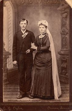 Forgotten Faces and Long Ago Places: Wedding Wednesday - Another Young Ossian, IA Newlywed Couple Late 1880's