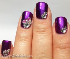 purple with stone accents nails