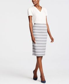 Tall Striped Jacquard Pencil Skirt