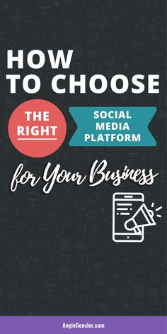 How to Choose the Right Social Media Platform for Your Business. This post includes a video tutorial and an infographic to help you discover the right platform to grow your business on social media. #AngieGensler #SocialMedia #SmallBusinessTips #SocialMediaMarketing Marketing Goals, Social Media Marketing, Digital Marketing, Business Marketing, Marketing Ideas, Content Marketing, Social Media Content, Social Media Tips, Take Money