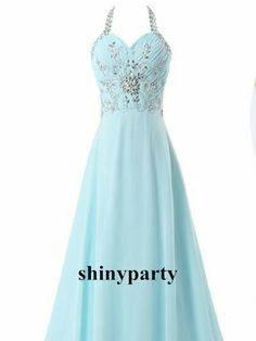 A Line Halter Neck Sweep Train Prom Dresses, Long Evening Dresses, Formal Dresses #shinyparty #formal #prom #dress #dresses #long #eveningdress #promdress #formaldress #longdress #fashion #fashiondress