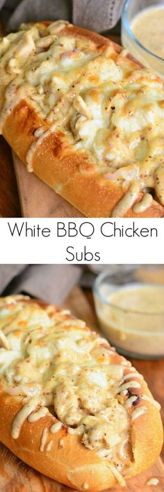 comfort and a whole lot of flavor! Delicious hot sub sandwich packed with chicken, cheese, and homemade white BBQ sauce.Total comfort and a whole lot of flavor! Delicious hot sub sandwich packed with chicken, cheese, and homemade white BBQ sauce. Think Food, I Love Food, Good Food, Yummy Food, Chicken Subs, Bbq Chicken, White Chicken, Chicken Philly, Chicken Sandwich Recipes