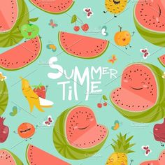 Seamless pattern with fruits by masastarus on @creativemarket