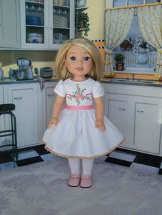 Embroidered Dress and Shoes for American Girl Doll by Farmcookies