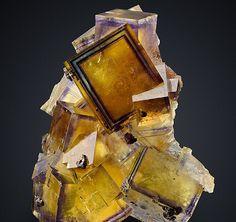 Sharp-colorzoned Fluorite crystals from the Bergmännisch Glück Mine, Saxony, Germany