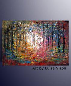 Original Painting Abstract Landscape Oil Impasto on by LUIZAVIZOLI