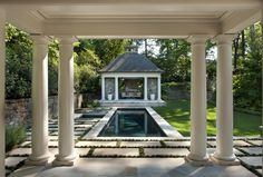 Brookhaven Garden & Pool - traditional - pool - atlanta - by Howard Design Studio Pool House Designs, Backyard Pool Designs, Swimming Pool Designs, Outdoor Rooms, Outdoor Living, Outdoor Stuff, Outdoor Areas, Pool Porch, Garden Pool