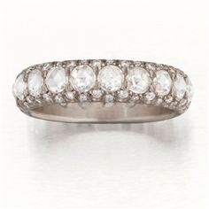 "Platinum Full ""Laksmi"" Ring with Rose-Cut and Brilliant-Cut White Diamonds.  Band width 4mm. Size 6."