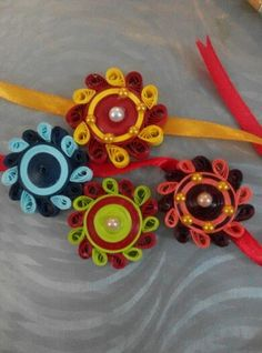Handmade rakhi Paper Quilling Jewelry, Quilling Craft, Quilling Ideas, Quilling Designs, Quilling Rakhi, Rakhi Cards, Rakhi Making, Handmade Rakhi, Rakhi Design