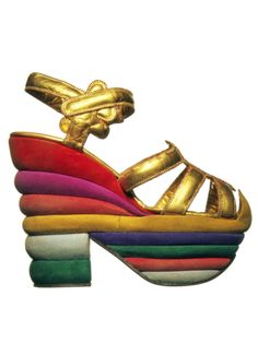 Rainbow wedge sandal - Salvatore Ferragamo, 1938.  Kidskin sandal with layered cork sole and heel covered in suede. The shoe was designed for the actress Judy Garland  via: Museo Salvatore Ferragamo, Firenze, Italy / DesimoneWayland