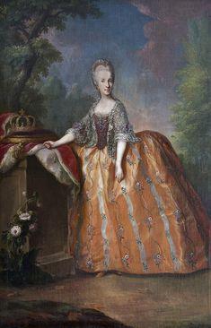 Maria Luisa of Spain, Anton von Maron (workshop of) Historical Costume, Historical Clothing, Historical Women, Trianon Versailles, Maron, Grand Duc, Baroque Painting, Rococo Fashion, 18th Century Fashion