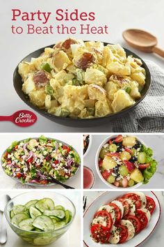 Whether you're making a family dinner or hosting a party, these delicious sides dishes will help you stay cool all summer long. Potluck Recipes, Summer Recipes, Appetizer Recipes, Salad Recipes, Dinner Recipes, Cooking Recipes, Healthy Recipes, Keto Recipes, Appetizers