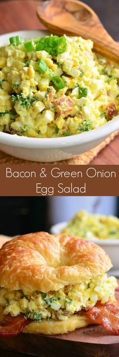 Bacon and Green Onion Egg Salad Sandwich. Combining egg salad bacon green onions herbs on a buttery flaky croissant is a fabulous way to dress up all those leftover hard boiled eggs. Egg Recipes, Lunch Recipes, Great Recipes, Salad Recipes, Cooking Recipes, Favorite Recipes, Bacon Recipes, Burger Recipes, Family Recipes