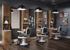 Barber Cahir with white and wood decor accents on floor and stations. Barber Shop Interior, Hair Salon Interior, Barber Shop Decor, Salon Interior Design, Salon Design, Interior Decorating, Barber Shop Chairs, Interior Simple, Barbershop Design