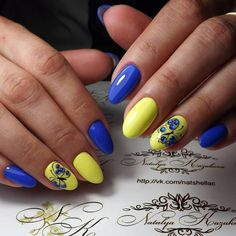 Butterflies on short nails, Oval nails, Oval nails by gel polish, Short nails 2017, Summer oval nails, Two-color gel polish nails, Ukrainian manicure, Yellow and blue nails