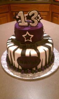 Birthday Cake ~ blue instead of purple. 13 Birthday Cake, 13th Birthday, Birthday Celebration, Birthday Ideas, Custom Cakes, Eat Cake, Cake Decorating, Ice Cream, Party Things