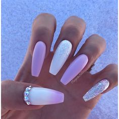 White And Lavender Ombré Coffin Nails