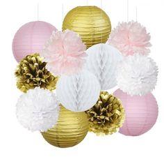 Lot 12 suspensions rose blanc doré - boules japonaises - pompons - boules alvéolées - sélection articles et idées anniversaire licorne - enfants - kids - unicorn - party - birthday - décoration