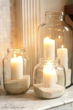 This would look stunning outdoors, and so easy. You could even save the tops and cover the jars when not in use so no insects or rain could get in them. Just make sure you keep your candles out of the sun so they don't melt. You could use flameless candles for safety. Save jars, add rice, beans or pebbles for cheap but pretty party ambiance...or an evening on the deck with friends.