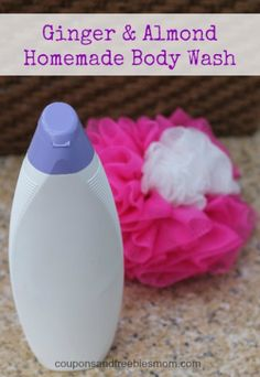 Homemade Ginger Almond Body Wash with 6 all-natural ingredients! Save money & make your own decadent homemade body wash at home! Great Easy DIY Homemade Christmas gift idea! We made Ginger and Almond, but choose your favorite scents or essential oils! Learn how easy this is to make here!