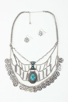 Faux Stone and Charm Statement Necklace