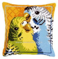 Buy Budgies Cushion Front Chunky Cross Stitch Kit Online at www.sewandso.co.uk