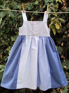 Little Girls dress made from 2 men's shirts. Great job Lele Fia ...