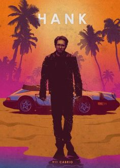 """Cool """"Car Legends - Hank"""" Poster Printed on Metal. Created by artist: Eden Design. Available in sizes M- L - XL . Hank Moody, Car Posters, Movie Posters, Evil Dead, Eden Design, Smokey And The Bandit, Ghost Busters, Film Serie, Cultura Pop"""